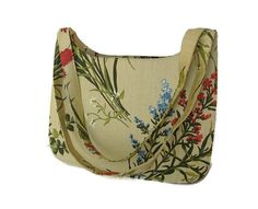 Vintage Floral Bag - Over the Shoulder Canvas Purse, Margaret Smith of Gardiner, Maine. via WhimsicalEverAfter, $18.00