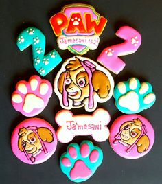 Paw Patrol Birthday Cookies Skye, Bone, Paw
