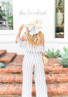gingham straw hat // Blue striped jumpsuit // Swedish Wooden Clogs Fashion Bloggers, Latest Fashion Trends, Fashion Ideas, Outfits For Teens, Cool Outfits, Wooden Clogs, Long Romper, Striped Jumpsuit, Formal Looks