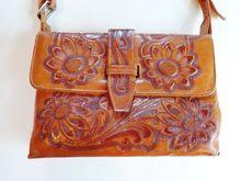 Sunflower Tooled Leather Vintage 1940's Messenger Bag Purse Handbag