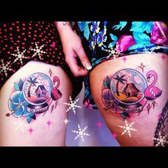 Matching snow globe tattoos, from Mimsy's Trailer Park Tattoo...I NEED THE FLAMINGO!!!