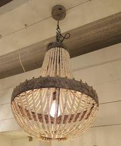 Lamp Model Luna hout met kralen Ø 54x72 cm - 8717459529731 - Avantius