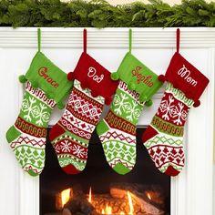 Personalized Knit Argyle / Snowflake Stockings - Christmas Stockings
