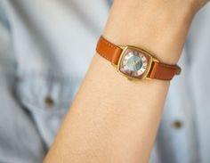 Square women's watch Glory gold plated wristwatch by SovietEra