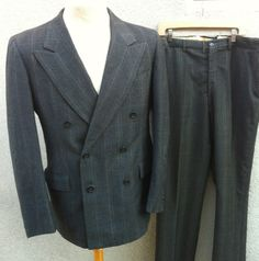 Vintage 1940s Mens Suit Double Breasted Windowpane Size 42L(203)