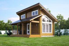 Cabin Design, Small House Design, Dream Home Design, Home Design Plans, Tiny House Loft, Tiny House Plans, Model House Plan, Contemporary House Plans, Steel House