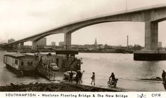 It was an outing to do this! Woolston floating bridge, also painted by Lowry. Southampton England, Hampshire, Old Photos, Childhood Memories, Postcards, Past, Bridge, Industrial, Places