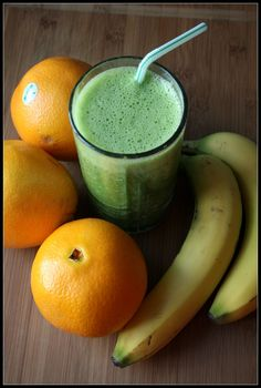 Green Creamsicle Smoothie: 2-3 oranges juiced, (add water if necessary to make 2 cups liquid), 2 frozen bananas, 2 cups spinach + opt. flax seed