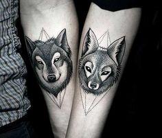 best-dotwork-wolf-tattoo