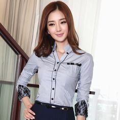 Cheap shirt lady, Buy Quality blouse shirt directly from China ladies blouses Suppliers: woman Autumn fashion patchwork lace Three Quarter female slim work wear shirt Blouses Shirts lady blouses formal shirts Cheap Blouses, Shirt Blouses, Blouses For Women, Ladies Blouses, Terno Casual, Mode Outfits, Fashion Outfits, Lady, Formal Shirts