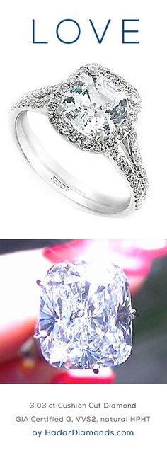 CyberMonday Diamonds by HadarDiamonds.com . 3.03 carat Cushion Cut Diamond. GIA certified G, VVS2, natural HPHT diamond. Ideal for an impressive diamond engagement ring. Featured with a split-shank halo engagement ring setting. Actual video available.
