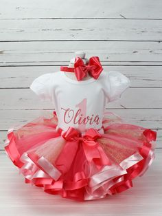 Coral Light Pink and Gold Tutu Outfit - Personalized Ribbon Trimmed Tutu For Girls - Birthday Dress - Cake Smash Photo Outfit 1st Birthday Tutu, Birthday Gifts For Girls, Girl Birthday, Birthday Ideas, Glitter Ribbon, Gold Glitter, Fall 1st Birthdays, Tutu Outfits, Tutu Dresses