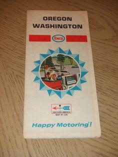 #PaincorpsRareFinds VINTAGE 1968 Enco Humble Oil Oregon Washington Highway Road Map Tiger Tour Guide Plz Retweet! #Ebay