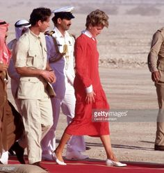 14 November 1986, Diana and Charles visit the desert in Doha, Qatar, where they are entertained to an afternoon of camel racing, falconry and bedouin dancing