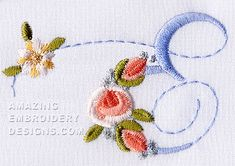 Amazing Embroidery Designs  letter E with roses