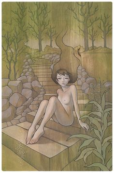 "by Audrey Kawasaki  ""Warabeuta"" わらべ歌 a child's song  oil and graphite on wood 21""x32""  ""Hajimari""@Jonathan Nafarrete Levine Gallery in NY  2009"