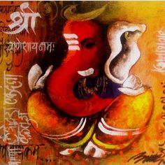 Ganesha by Anand Dharmadikari 5 - Portrait/Figures Acrylic Painting Ganesha Drawing, Lord Ganesha Paintings, Lord Shiva Painting, Ganesha Art, Shri Ganesh, Ganesh Lord, Krishna Painting, Kerala Mural Painting, Indian Art Paintings