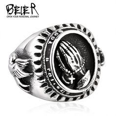 Hand of God ring Factory Price 316L Stainless Titanium Steel Bird of Peace Ring Jewelry Unique Man's Style BR8-267
