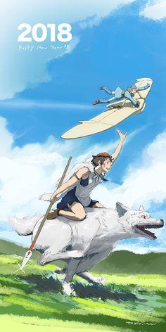 Nausicaa and mononoke! Studio Ghibli Art, Studio Ghibli Movies, Nausicaa, Film D'animation, Howls Moving Castle, Hayao Miyazaki, Animation Film, Manga Anime, Heaven