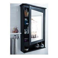 HEMNES Element s ogledalom,1vrata - crno-smeđ boj - IKEA