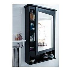 HEMNES Meuble à miroir 1 porte - teinture noir-brun - IKEA