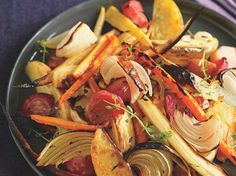 Roasted Vegetables - Great mix! Eat them for dinner, then use the leftovers in soup or on sandwiches...