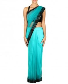 Green Sari With Embroidered Border