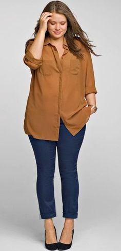 camisa tallas grandes mujer la redoute mostaza