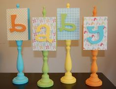 Candlestick Letters~ This DIY project is a really cute idea. You can spell out baby for a baby shower decoration, or a nursery, or a kids name for their room. You could also turn it into a holiday decoration like spelling out Boo or Joy. Easy to follow tutorial.