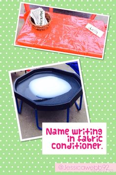 Name writing in fabric conditioner. Writing Area, Name Writing, Writing Skills, Early Years Teacher, Early Years Classroom, Name Activities, Writing Activities, Communication And Language Activities, Reception Activities