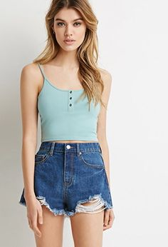 Buttoned Cami Crop Top | Forever 21 - 2000132462