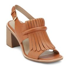 Women's G.h. Bass & Co. Reagan Kiltie Fringe Sandal (130 AUD) ❤ liked on Polyvore featuring shoes, sandals, cognac leather, leather slingback shoes, block heel slingback sandals, chunky block heel sandals, leather sandals and slingback shoes