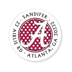 University of Alabama Polka Dot White and Crimson Labels