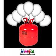 Pack bombona de helio Maxi más 45 globos  blancos luminosos LED.