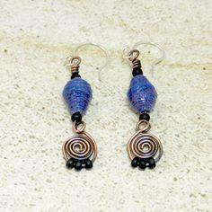 Blue paper bead earrings by FiberheartStudio on Etsy, $14.00