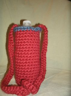 Crochet Water Bottle Holder in red with blue-grey trim  #CreationsByMaris
