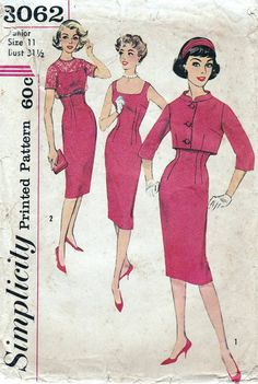 50s Simplicity sewing pattern 3062, dress and jacket sewing pattern, bust 31.5 inches