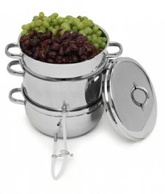This steam juicer extracts juice from fruits including tomatoes for tomato juice and fruit juices. You can make jelly with the fruit juice. The steam juicer is made of stainless steel can can be used as a stock pot and colander.  http://www.veggiesensations.com/victorio-steam-juicer/