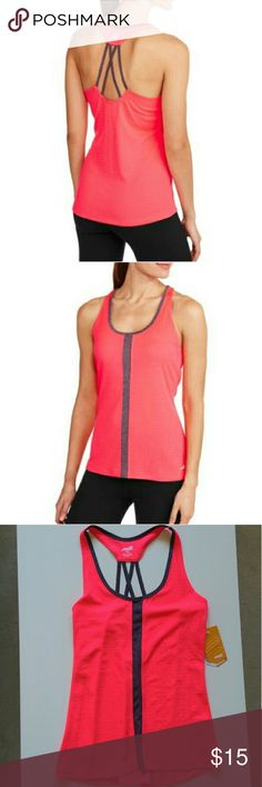 Strappy back workout tank Neon pink moisture wicking workout tank with criss cross stappy back. Worn once. Like new. Avia Tops Tank Tops