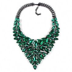Color Full Hot Crystal Gem Luxury Bridal V Shaped Rhinestone Wedding Maxi Statement Necklace Collar Necklace Check it out! Visit us Green Statement Necklace, Crystal Necklace, Pendant Necklace, Simple Necklace, Diy Necklace, Fashion Necklace, Fashion Jewelry, Women Jewelry, Gold Fashion