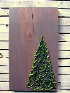 DIY Winter Evergreen String Art Pattern