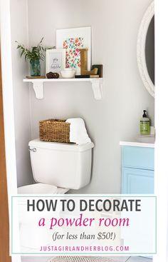 How to decorate a builder grade bathroom, easy bathroom hacks, updating a b Budget Bathroom, Simple Bathroom, Bathroom Hacks, Master Bathroom, Bathroom Ideas, Bathroom Organization, Bathroom Shelves, Bath Shelf, Bathroom Updates