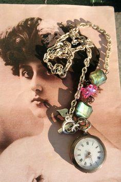 Antique pocket watch Labradorite jewelry Pocket watch Unusual Jewelry, Antique Jewelry, Silver Jewelry, Gothic Jewellery, Pocket Watch Necklace, Labradorite Jewelry, London Style, Pocket Watch Antique, Girlfriend Gift