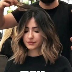 Balyage Short Hair, Cabelo Ombre Hair, Short Brunette Hair, Brown Hair Balayage, Hair Highlights, Brunette Ombre Balayage, Blonde Hair, Ombre Hair Color For Brunettes, Brunette Color