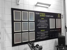 Regency Fitness noticeboard with printed permanent messages and interchangeable snap frames