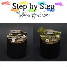 MaGie Miniature Painting: Step by Step: Mythical Forest Base Minis, Dyi, Miniature Bases, Fantasy Miniatures, Reaper Miniatures, Warhammer 40k Miniatures, How To Make Paint, Plastic Card, Mini Things