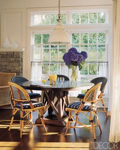 NAVY ALL OVER | Mark D. Sikes: Chic People, Glamorous Places, Stylish Things love the windows, cafe curtains, bistro chairs...