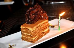 Medovik, Russian traditional dulce de leche and honey cake from Brasserie Pushkin in NYC Yummy Drinks, Delicious Desserts, Yummy Food, Russian Recipes, Russian Foods, Russian Cakes, Honey Cake, Polish Recipes, New Flavour