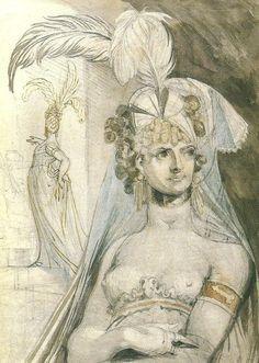 Courtesan with elaborate headdress, Henry Fuseli Art Romantique, William Blake, Mystique, Silk Screen Printing, Jaba, Michelangelo, Headdress, Caricature, Hair Pieces