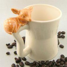 小鹿が乗っかっていてかわいいマグですー:Fawn mug. $29